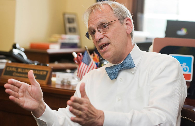 UNITED STATES - MAY 24:  Rep. Earl Blumenauer, D-Ore., is interviewed by Roll Call in his Longworth office about biking. (Photo By Tom Williams/Roll Call)