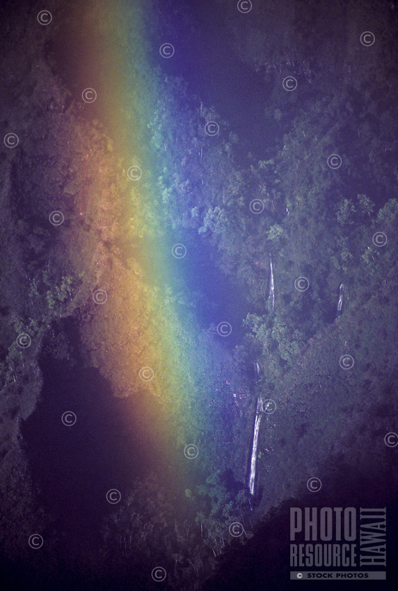 Rainbow in Kalalau Valley, Na Pali Coast State Park, near waterfall, late afternoon
