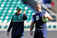Ireland Head Coach Joe Schmidt with Nathan White. Ireland Captain's Run on February 26, 2016 at Twickenham Stadium in London, England. Photo by: Patrick Khachfe / Onside Images