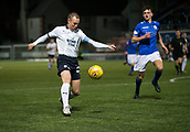 29th January 2019, Palmerston Park, Dumfries, Scotland; Scottish Cup football, 4th round replay, Queen of the South versus Dundee; Kenny Miller of Dundee plays the ball across Jordan Marshall of Queen of the South