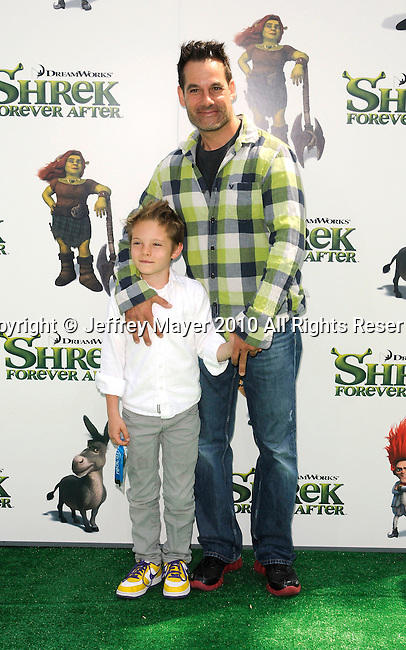 "UNIVERSAL CITY, CA. - May 16: Adrian Pasdar and Slade Pasdar arrive at the ""Shrek Forever After"" Los Angeles Premiere at Gibson Amphitheatre on May 16, 2010 in Universal City, California."