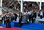 70th Anniversary Of The Liberation - International Ceremony in Ouistreham, France. with Fran&ccedil;ois Hollande, President of the French Republic, Prime Minister, Barack Obama, Queen Elizabeth II, King Philippe of Belgium, Angela Merkel, Grand Duke of Luxembourg, Henri, King Willem-Alexander of the Netherlands, King Harald V of Norway, Vladimir Putin, Tony Abbott ; Prime Minister of Australia, Stephen Harper ; Prime Minister of Canada, Milos Zeman ; President of the Czech Republic, Queen of Danemark ; Margrethe II, Karolos Papoulias ; President of the Hellenic Republic, Giorgio Napolitano ; President of the Italian Republic, Jerry Mateparae ; Governor-General of New-Zealand, Bronislaw Komorowski ; President of the Republic of Poland, Ivan Gasparovic ; President of the Slovak Republic. Queen Mathilde of Belgium,Prince Albert II of Monaco, Prince Charles, Prince Philip, Carmilla Duchess of Cornwall, Herman Van Rompuy, Elio Di Rupo, Duchess Maria Teresa of Luxembourg, Queen Maxima of the Nederlands, David Cameron, Grand Duke Jean ok Luxembourg, Erna Solberg Prime Minister of Norway<br /> France, Ouistreham, June 6, 2014.<br /> 70&egrave;me Anniversaire de la Lib&eacute;ration en Normandie - C&eacute;r&eacute;monie Internationale &agrave; Ouistreham, en pr&eacute;sence de Fran&ccedil;ois Hollande, Pr&eacute;sident de la R&eacute;publique fran&ccedil;aise, du Premier ministre et de tous les les chefs de d&eacute;l&eacute;gation.<br /> France, Ouistreham, 6 juin 2014.