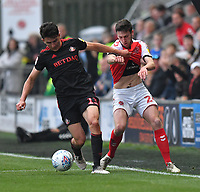 Fleetwood Town's Ashley Nadesan battles with Sunderland's Luke O'Nien<br /> <br /> Photographer Dave Howarth/CameraSport<br /> <br /> The EFL Sky Bet League One - Fleetwood Town v Sunderland - Tuesday 30th April 2019 - Highbury Stadium - Fleetwood<br /> <br /> World Copyright © 2019 CameraSport. All rights reserved. 43 Linden Ave. Countesthorpe. Leicester. England. LE8 5PG - Tel: +44 (0) 116 277 4147 - admin@camerasport.com - www.camerasport.com