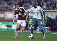 Manchester United's Ashley Young and Burnley's George Boyd<br /> <br /> Photographer Rachel Holborn/CameraSport<br /> <br /> The Premier League - Burnley v Manchester United - Sunday 23rd April 2017 - Turf Moor - Burnley<br /> <br /> World Copyright &copy; 2017 CameraSport. All rights reserved. 43 Linden Ave. Countesthorpe. Leicester. England. LE8 5PG - Tel: +44 (0) 116 277 4147 - admin@camerasport.com - www.camerasport.com