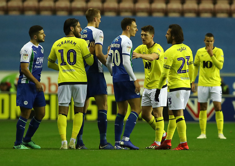 Blackburn Rovers' and \Wigan Athletic have a difference of opinion<br /> <br /> Photographer Rachel Holborn/CameraSport<br /> <br /> The EFL Sky Bet Championship - Wigan Athletic v Blackburn Rovers - Wednesday 28th November 2018 - DW Stadium - Wigan<br /> <br /> World Copyright © 2018 CameraSport. All rights reserved. 43 Linden Ave. Countesthorpe. Leicester. England. LE8 5PG - Tel: +44 (0) 116 277 4147 - admin@camerasport.com - www.camerasport.com