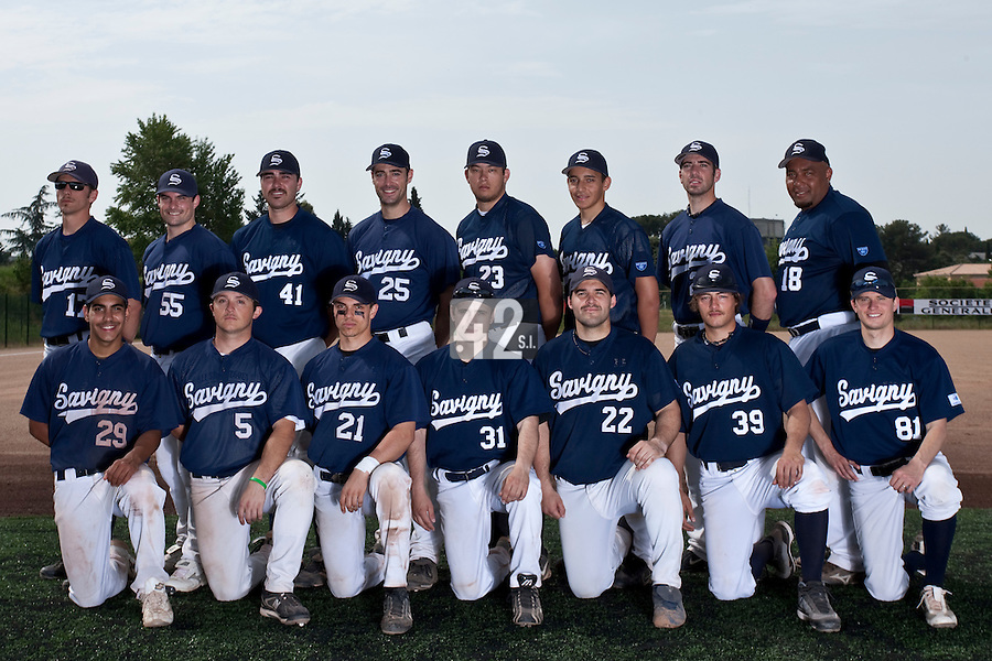 23 May 2009: Team Savigny poses prior to a game against Senart during the 2009 challenge de France, a tournament with the best French baseball teams - all eight elite league clubs - to determine a spot in the European Cup next year, at Montpellier, France. Savigny wins 4-1 over Senart.