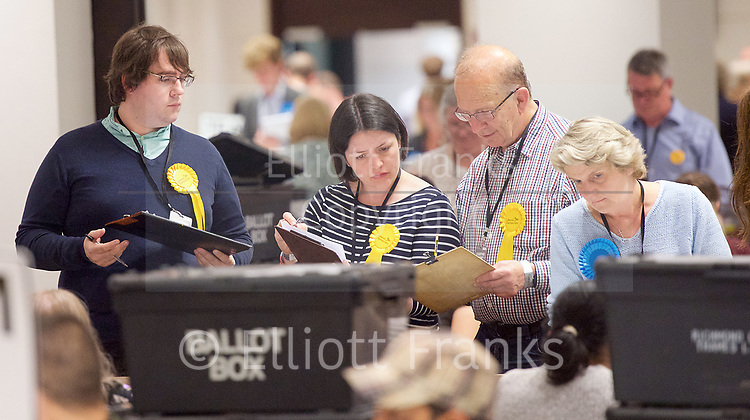 General Election count for the Twickenham &amp; Richmond Park constituencies at the Twickenham Rugby Stadium, Twickenham, Middlesex, Great Britain <br /> 8th June 2017 <br /> <br /> The first ballot papers being counted and checked by representatives from the parties <br /> <br /> Photograph by Elliott Franks <br /> Image licensed to Elliott Franks Photography Services