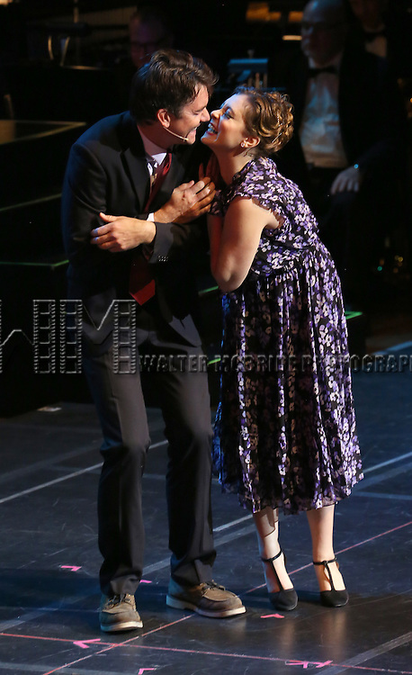 "Jerry O'Connell and Rachel Bloom during the Manhattan Concert Productions 25th Anniversary concert performance of ""Crazy for You"" at David Geffen Hall, Lincoln Center on February 19, 2017 in New York City."