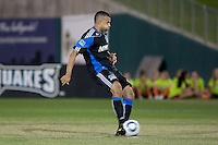 Jason Hernandez kicks for the game winner. The San Jose Earthquakes defeated Chivas USA 6-5 in shootout after drawing 0-0 in regulation time to win the inagural Sacramento Cup at Raley Field in Sacramento, California on June 12, 2010.