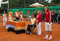 10-08-13, Netherlands, Rotterdam,  TV Victoria, Tennis, NJK 2013, National Junior Tennis Championships 2013,  Prize giving, winners speech by Jelle Sels<br /> <br /> Photo: Henk Koster