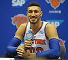 Enes Kanter of the New York Knicks jokes with reporters as he fields questions during the team's Media Day held at Madison Square Garden Training Center in Greenburgh, NY on Monday, Sept. 24, 2018.