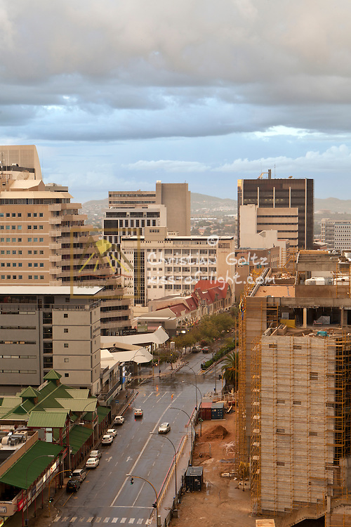 A view along Independence Avenue of downtown Windhoek in March 2015. The complex of historical German colonial architecture has become small and insignificant.