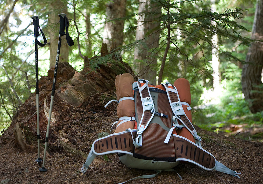 Photo by Stephen Brashear.Trekking poles and backpack await Sandy McKean of Seattle to continue his hike to Monogram Lake in the North Cascades National Park near Marblemount, Wash., Tuesday Aug. 12, 2008. McKean is a member of the Trailblazers, a club of high lakes anglers that help stock fish in the high mountain lakes.