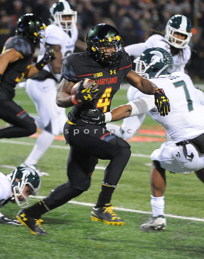 Maryland Terrapins William Likely (4) during a game against the Michigan State Spartans on November 15, 2014 at Byrd Stadium in College Park, MD. Michigan State beat Maryland 37-15.