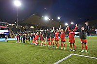 Portland, OR - Saturday, May 21, 2016: Portland Thorns FC players salute the fans after the match. The Portland Thorns FC defeated the Washington Spirit 4-1 during a regular season National Women's Soccer League (NWSL) match at Providence Park.