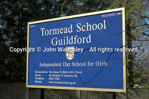 School name board at an Independent (private) school for girls only.