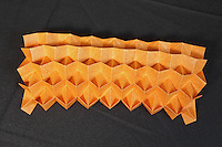 OrigamiUSA Convention 2015 Exhibition. OBC - Origami by Children - section. Spiky Honeycomb Corrugation designed and folded by Carly Lam, 14, NY