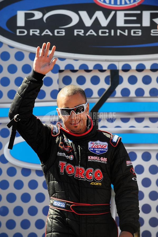 Apr. 13, 2008; Las Vegas, NV, USA: NHRA top fuel driver J.R. Todd during the SummitRacing.com Nationals at The Strip in Las Vegas. Mandatory Credit: Mark J. Rebilas-