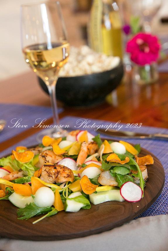 Jerk Shrimp Salad<br /> avocado -black sapote -carambola -Ridge 2 Reef farm greens -mango viniagrette <br /> Balter Restaurant, Christiansted<br /> St. Croix, US Virgin Islands