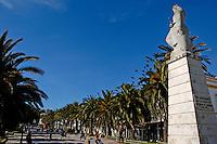 Statue of Alonso Perez de Guzman, a 13th century Spanish nobleman, on Paseo de la Alameda in Tarifa, Andalusia, Spain.