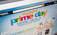"The Amazon website promotes their self-proclaimed ""Prime Day"" on Wednesday, July 15, 2015. Bargains and deals galore are offered to Amazon Prime shoppers on this one-day event. The so-called holiday celebrates Amazon's 20th year in business and attempts to draw in customers as June retail sales in the U.S. were weak. Walmart has competing sales on their website today.  (© Richard B. Levine)"