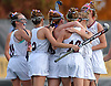 Garden City teammates celebrate after a goal by Liana McDonnell #16, third from left, in the first half of the Nassau County varsity field hockey Class B final against Cold Spring Harbor at Adelphi University on Saturday, Oct. 28, 2017. Garden City won by a score of 1-0 to claim the Class B county championship.