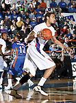 Stephen F. Austin Lumberjacks forward Jordan Glynn (23) in action during the game between the Stephen F. Austin Lumberjacks and the UTA Mavericks held at the University of Texas at Arlington's, Texas Hall, in Arlington, Texas.  UTA defeats Stephen F. Austin  66 to 65 in overtime.