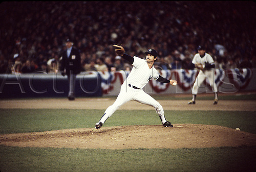 20 Oct 1981:  Pitcher Ron Guidry of the New York Yankees in action during the Yankees 3-0 victory over the Los Angeles Dodgers in Game One of the 1981 World Series at Yankee Stadium in Bronx, New York.  The Yankees went on to lose the series 4-2 to the Dodgers.