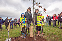Pictured: with Blaendulais primary school (Seven Sisters) pupils Alfie (9) and Dempsey (8) are Lesley Griffiths (AM), Minister for Enviroment, Energy and Rural Affairs, and Natalie Buttriss, Director of Wales - The Woodland Trust/Coed Cadw (right)<br /> Re: National Forest launch at the Woodland Trust event high on the mountainside above Neath in South Wales this morning at the newly planted Coed Cadw woodland.