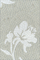 Peony, a jewel glass mosaic, is shown in Opal and Moonstone.