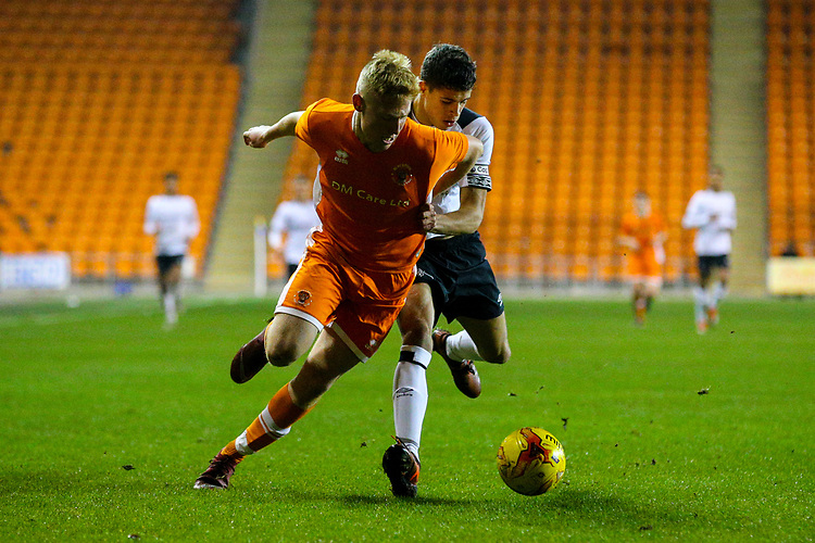 Blackpool's Owen Watkinson gets the better of Derby County's Callum Minkley<br /> <br /> Photographer Alex Dodd/CameraSport<br /> <br /> The FA Youth Cup Third Round - Blackpool U18 v Derby County U18 - Tuesday 4th December 2018 - Bloomfield Road - Blackpool<br />  <br /> World Copyright &copy; 2018 CameraSport. All rights reserved. 43 Linden Ave. Countesthorpe. Leicester. England. LE8 5PG - Tel: +44 (0) 116 277 4147 - admin@camerasport.com - www.camerasport.com