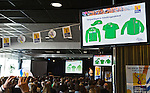 DEN HAAG - Kledingvoorbeeld voor  de Vrijwilligers voor het World Cup Hockey 2014 kwamen zaterdag in het Kyocera voetbalstadion voor het eerst bijeen. FOTO KOEN SUYK
