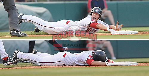 June 19, 2009: Anthony Rizzo (25) of the Greenville Drive appeals unsuccessfully to umpire Jacob Danielson after sliding past third trying to stretch a double into a triple and being tagged out by Lexington Legends third baseman Ebert Rosario (13) at Fluor Field at the West End in Greenville, S.C. Photo by: Tom Priddy/Four Seam Images