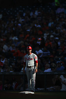 SAN FRANCISCO, CA - AUGUST 11:  First base coach Paco Figueroa #38 of the Philadelphia Phillies stands in the coaches box against the San Francisco Giants during the game at Oracle Park on Sunday, August 11, 2019 in San Francisco, California. (Photo by Brad Mangin)