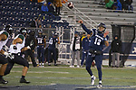 Nevada's Cristian Solano (13)  throws against Hawaii in the second half of an NCAA college football game in Reno, Nev., Saturday, Sept. 28, 2019. (AP Photo/Tom R. Smedes)