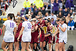 STONY BROOK, NY - MAY 27: Tess Chandler #5 of the Boston College Eagles reacts after scoring a goal during the Division I Women's Lacrosse Championship held at Kenneth P. LaValle Stadium on May 27, 2018 in Stony Brook, New York. (Photo by Ben Solomon/NCAA Photos via Getty Images)
