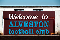 Entrance sign at Alveston FC Football Ground, Home Guard Club, Warwickshire, pictured on 1st January 1995