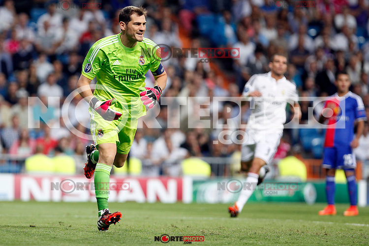 Iker Casillas of Real Madrid during the Champions League group B soccer match between Real Madrid and FC Basel 1893 at Santiago Bernabeu Stadium in Madrid, Spain. September 16, 2014. (ALTERPHOTOS/Caro Marin) /NortePhoto.com
