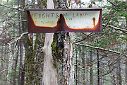 Height of land sign along the Sandwich Notch Road in Sandwich, New Hampshire. This historic route was established in 1801.