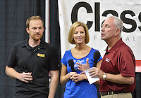 College Signing Day 2015 at the KFC Yum! Center.<br /> WDJX radio hosts Ben Davis and Kelly K. with Bellermine Basketball Coach Scott Davenport.