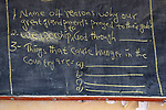 A blackboard poses challenging questions for students in the Loreto Primary School in Rumbek, South Sudan. The Loreto Sisters began a secondary school for girls in 2008, with students from throughout the country, but soon after added a primary in response to local community demands.
