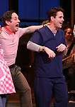 "Christopher Fitzgerald with Joey McIntyre during his debut bows in Broadway's  ""Waitress"" at The Brooks Atkinson Theatre on February 4, 2019 in New York City."