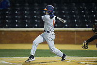 Michael Massey (6) of the Illinois Fighting Illini follows through on his swing against the Wake Forest Demon Deacons at David F. Couch Ballpark on February 16, 2019 in  Winston-Salem, North Carolina.  The Fighting Illini defeated the Demon Deacons 5-2. (Brian Westerholt/Four Seam Images)