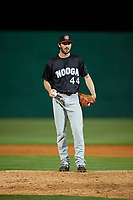 Chattanooga Lookouts relief pitcher John Curtiss (44) on the mound during a game against the Jackson Generals on April 27, 2017 at The Ballpark at Jackson in Jackson, Tennessee.  Chattanooga defeated Jackson 5-4.  (Mike Janes/Four Seam Images)