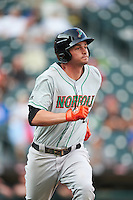 Norfolk Tides first baseman Trey Mancini (21) runs to first base during a game against the Buffalo Bisons on July 18, 2016 at Coca-Cola Field in Buffalo, New York.  Norfolk defeated Buffalo 11-8.  (Mike Janes/Four Seam Images)
