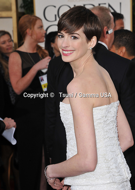 Anne Hathaway _134 at the 70th Golden Globes Awards 2013 at the  Hilton Hotel In Beverly Hills.
