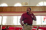 Lemarse Washington leads a tour in 16th Street Baptist Church on August 13, 2013 in downtown Birmingham, Alabama. In 1963, four girls were killed when a bomb under the church's side steps went off.