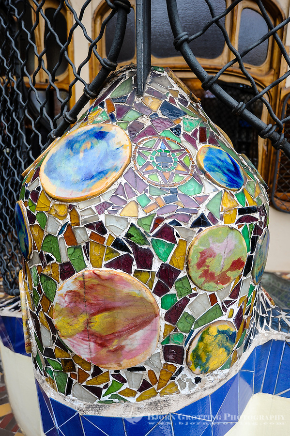 Spain, Barcelona. Casa Batlló is one of Antoni Gaudí's masterpieces. Ceramics details