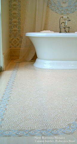 "Tatiana 3 1/2"" and 10""mosaic borders and 36"" custom medallion with Fishscale field in Celeste, Ivory Cream, Travertine White, and ivory Cream"