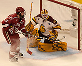 Alexander Kerfoot (Harvard - 14), Hunter Miska (UMD - 35) - The University of Minnesota Duluth Bulldogs defeated the Harvard University Crimson 2-1 in their Frozen Four semi-final on April 6, 2017, at the United Center in Chicago, Illinois.